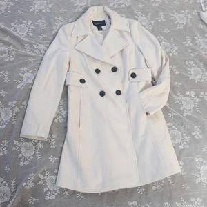 White Wool Trench Moda Long Coat Peacoat 12